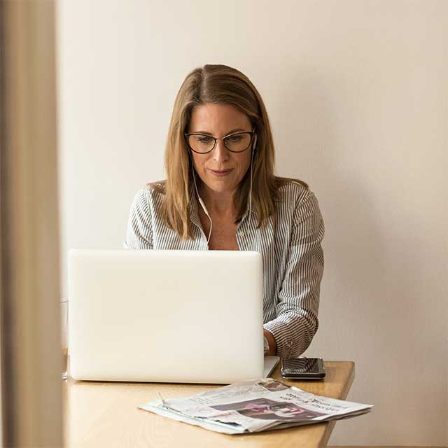 Picture of woman working on her laptop